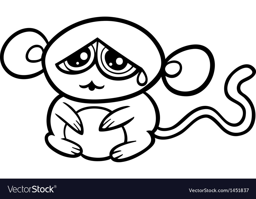 Monkey Coloring Pages Pdf : Cartoon sad monkey coloring page royalty free vector image