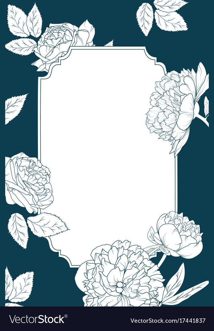 Rose peony flowers invitation card template border rose peony flowers invitation card template border vector image stopboris Images