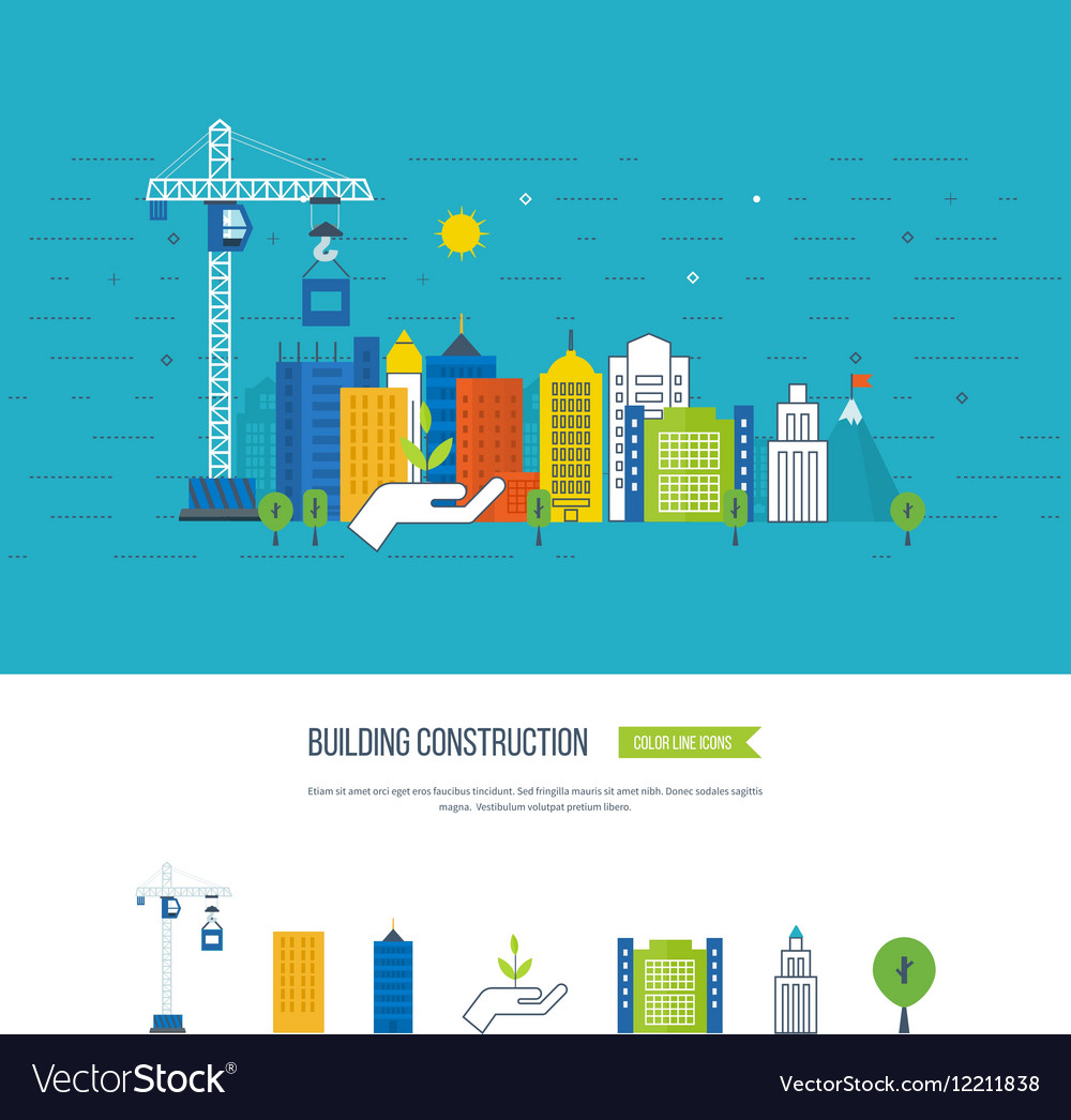 Icons of building construction and urban landscape vector image