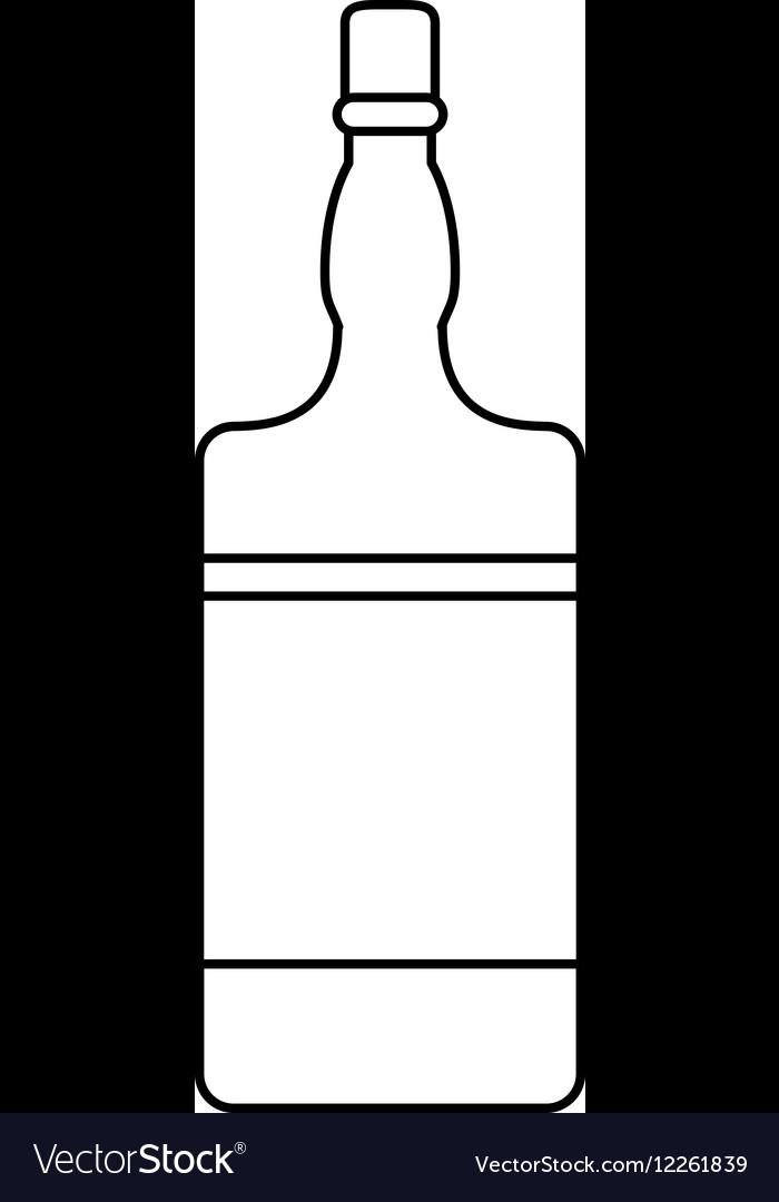 Bottle whiskey expensive liquor outline vector image
