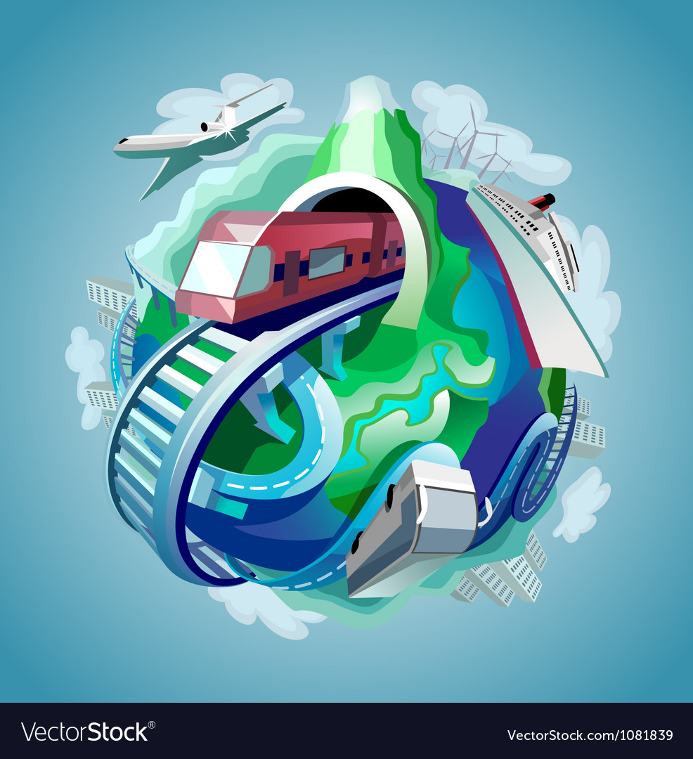 Globe with four types of transport vector image