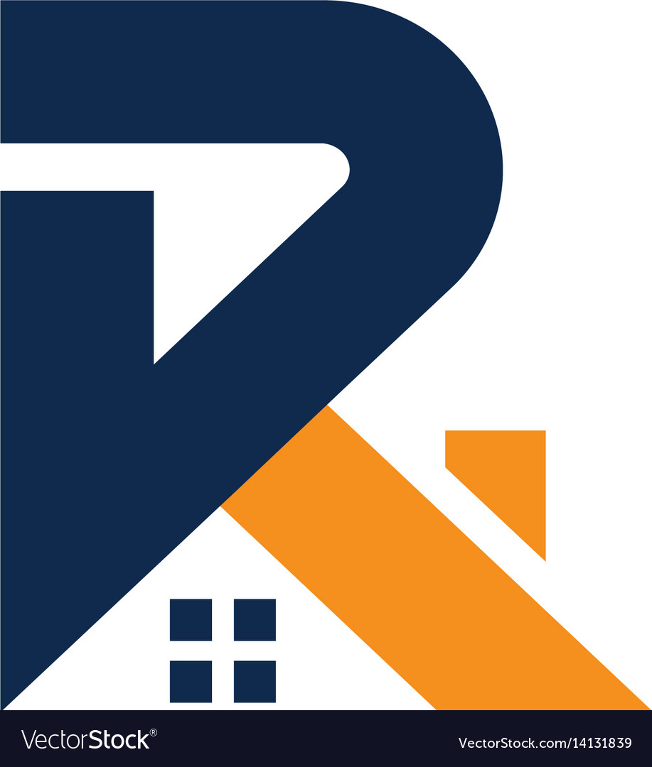 Letter r with roofing style vector image