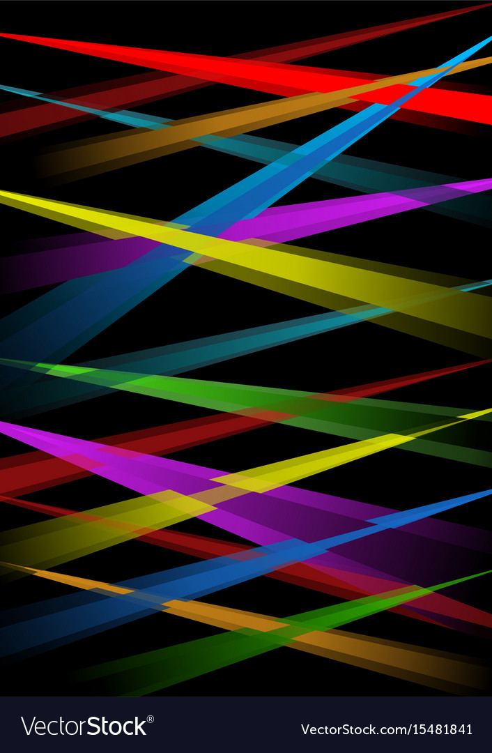 Rainbow laser rays on black background vector image