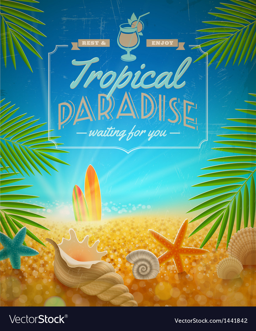 Vacation and summer holidays retro design vector image