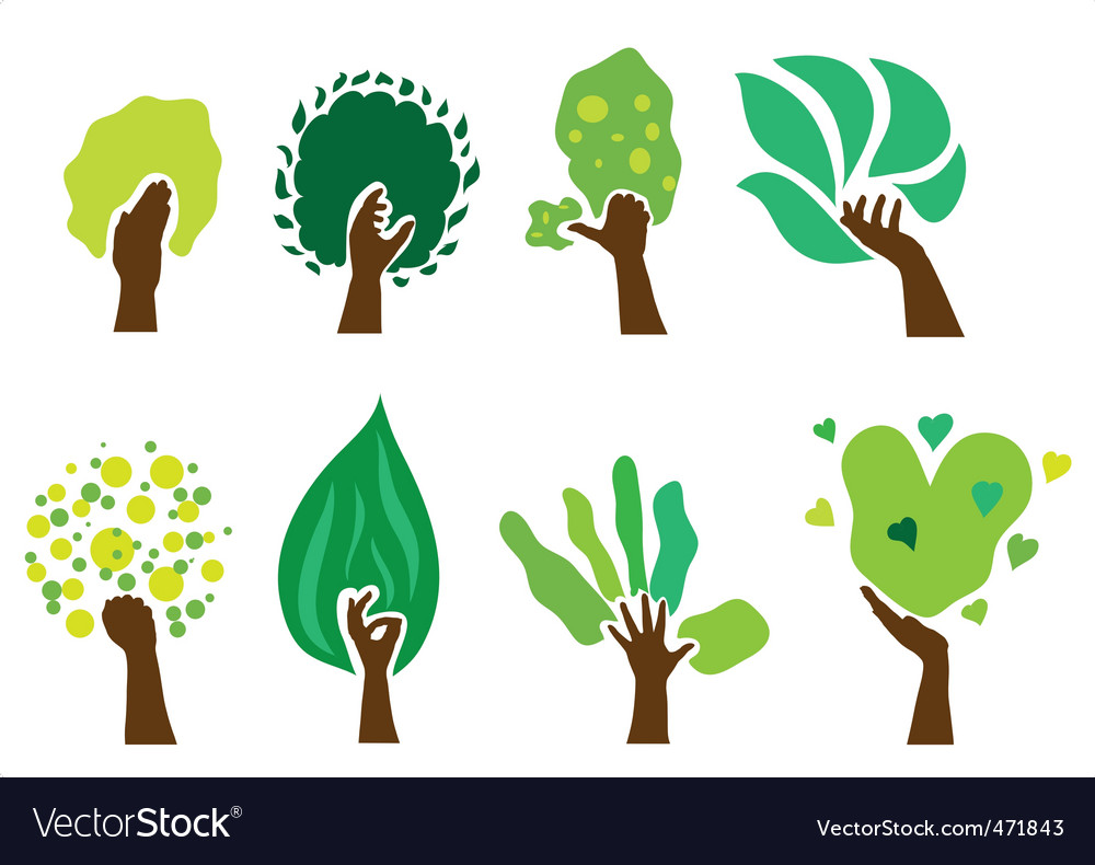 Set of hand trees vector image