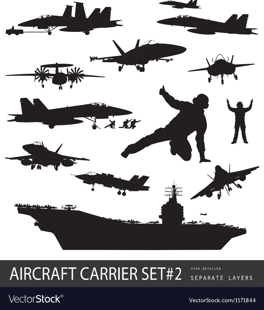 Naval aviation silhouettes Vector Image
