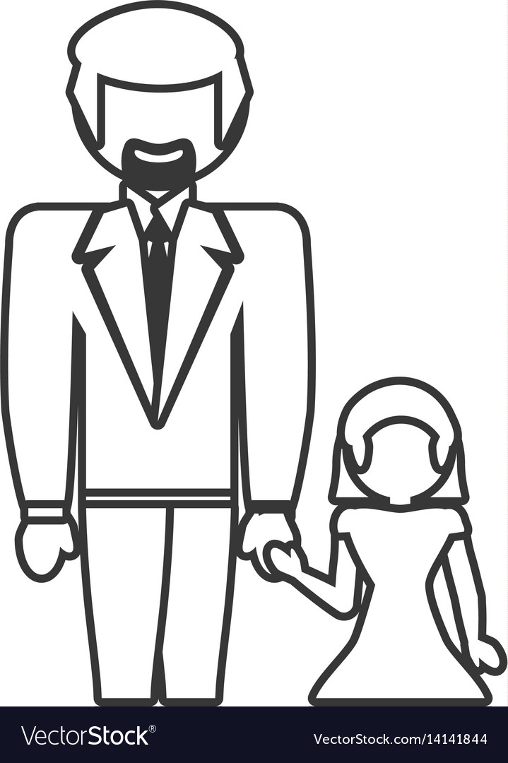 Dad with daughter family outline vector image