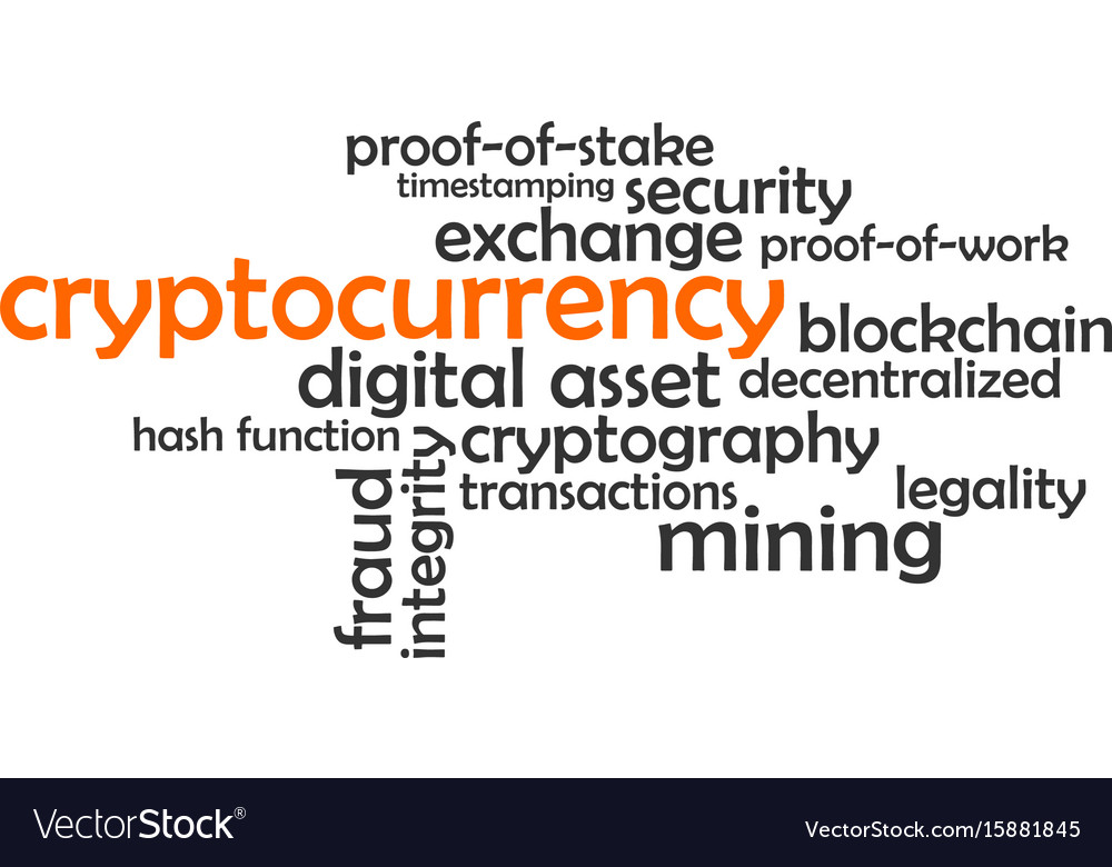 Word cloud - cryptocurrency vector image
