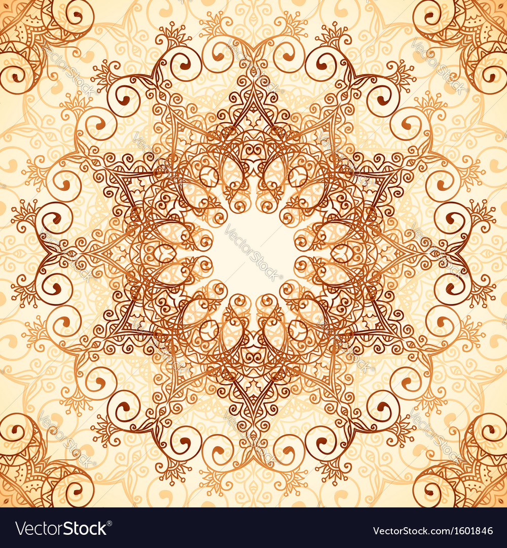 Ornate vintage circle pattern in mehndi style vector image