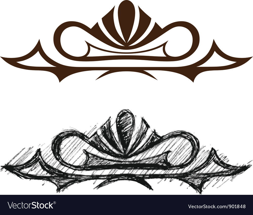 Black grunge ornate vector image