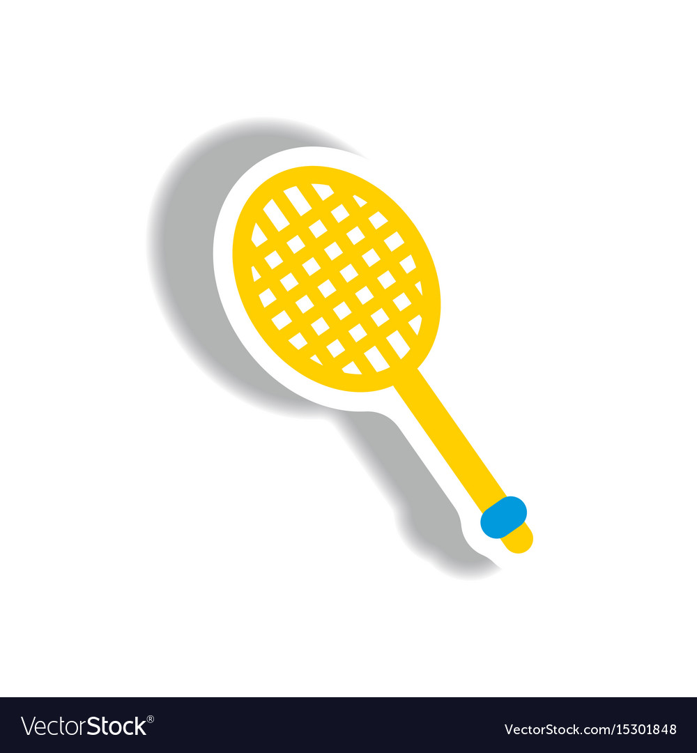 Stylish icon in paper sticker style tennis racquet