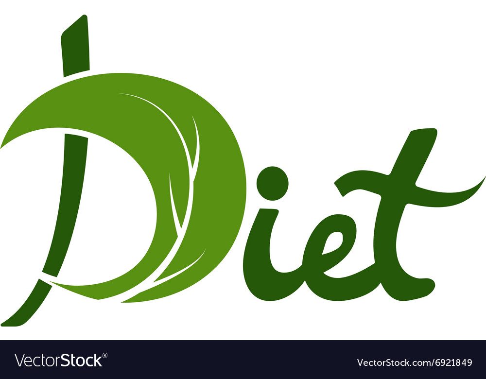 Word diet with leaf design template vector image