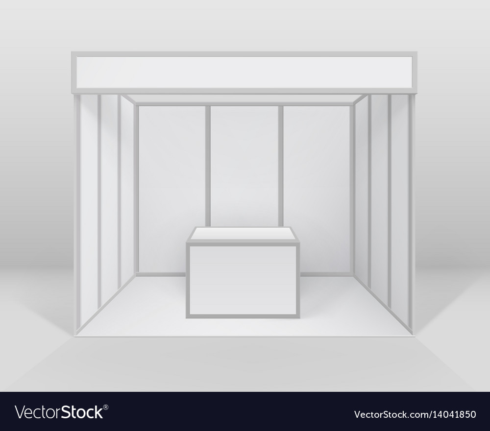 Exhibition Booth Counter : Blank indoor trade exhibition booth with counter vector image