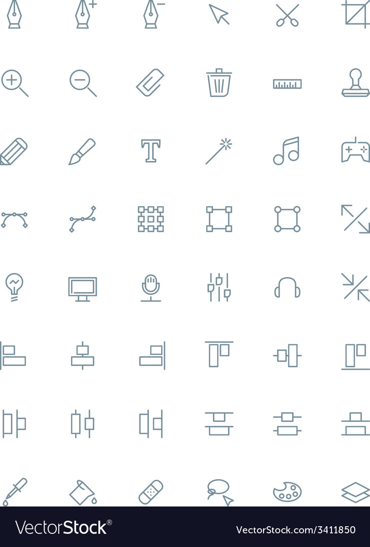 Thin line design tools icons set for web and vector image