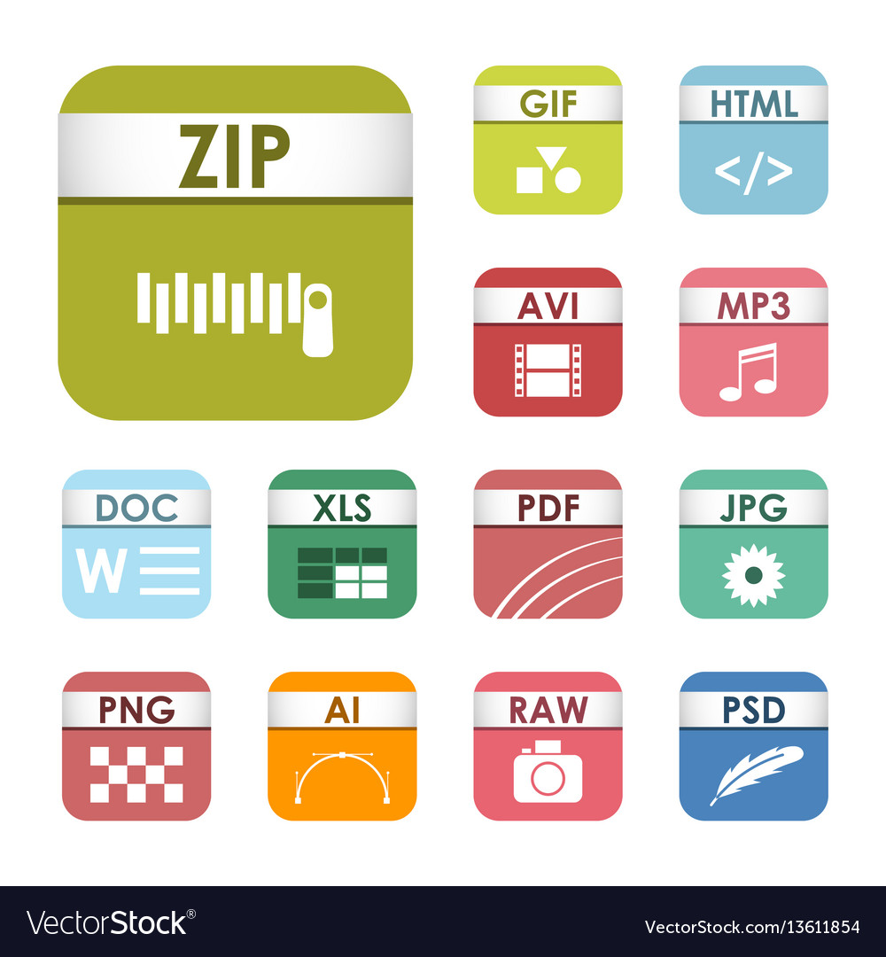 Simple square file types formats labels icon set vector image