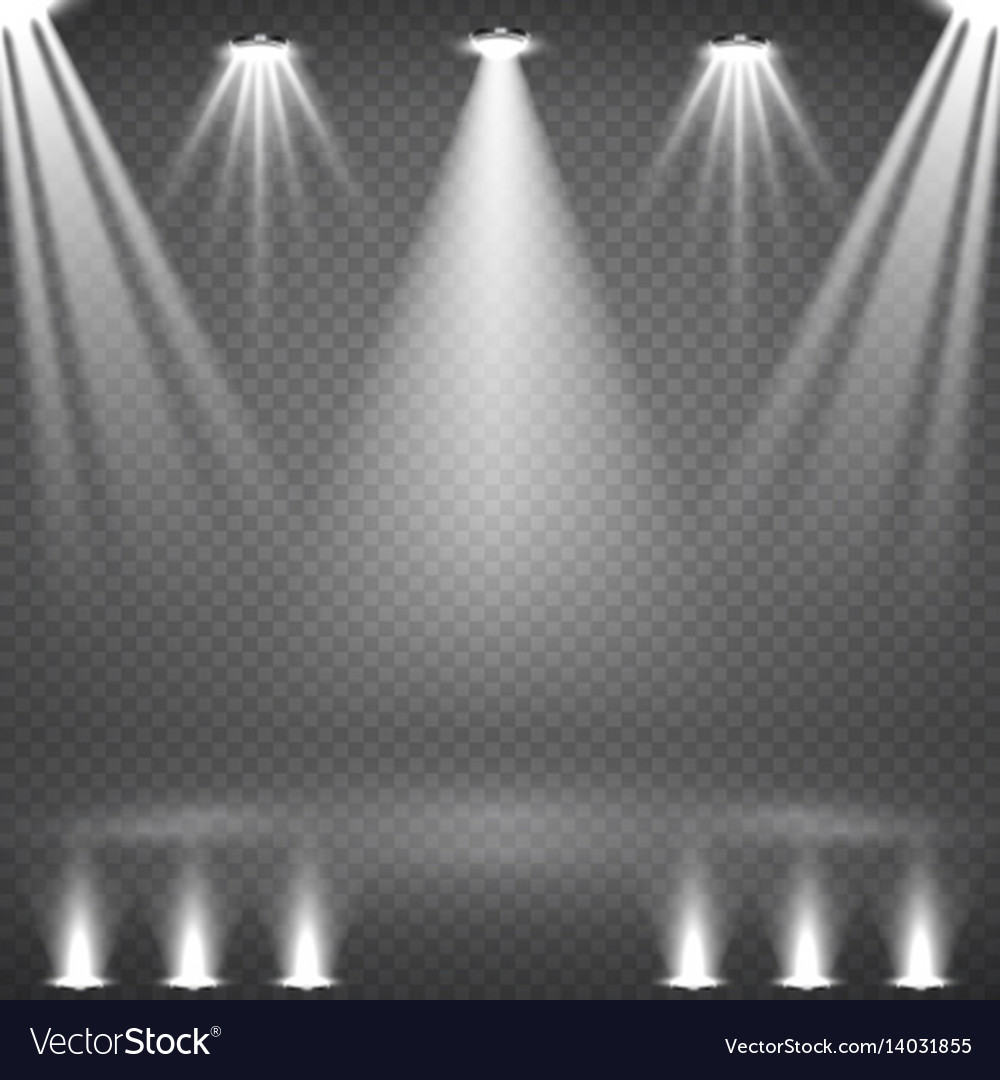 Blank scene with glowing white spotlights vector image