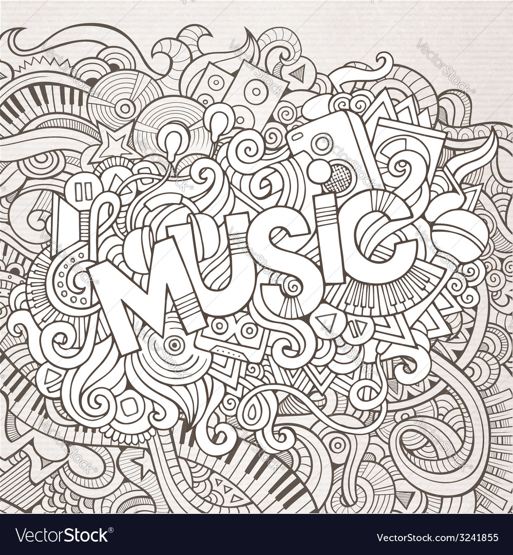 Stock vector music hand lettering and doodles elements - Music Hand Lettering And Doodles Elements Vector Image