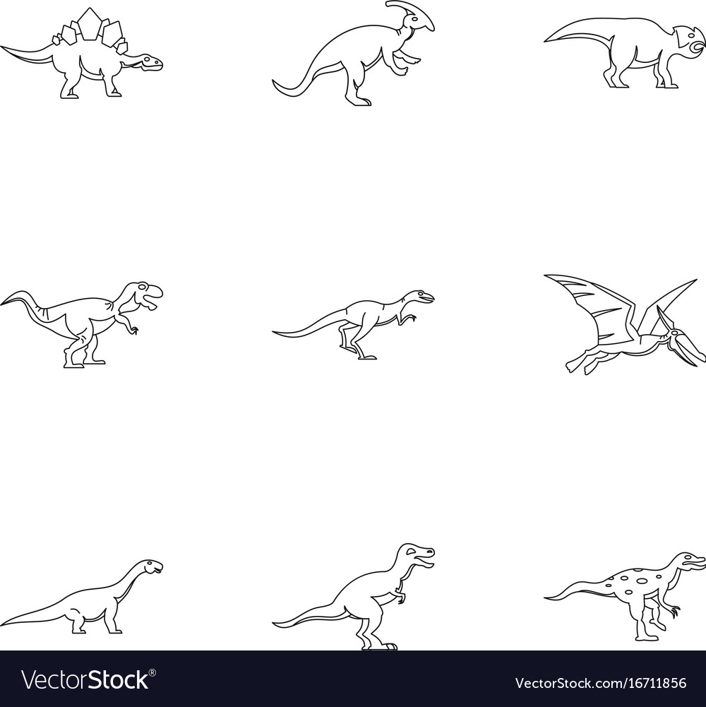 Different dinosaur icons set outline style vector image