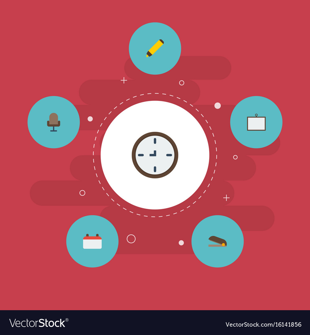 Flat icons date watch whiteboard and other vector image
