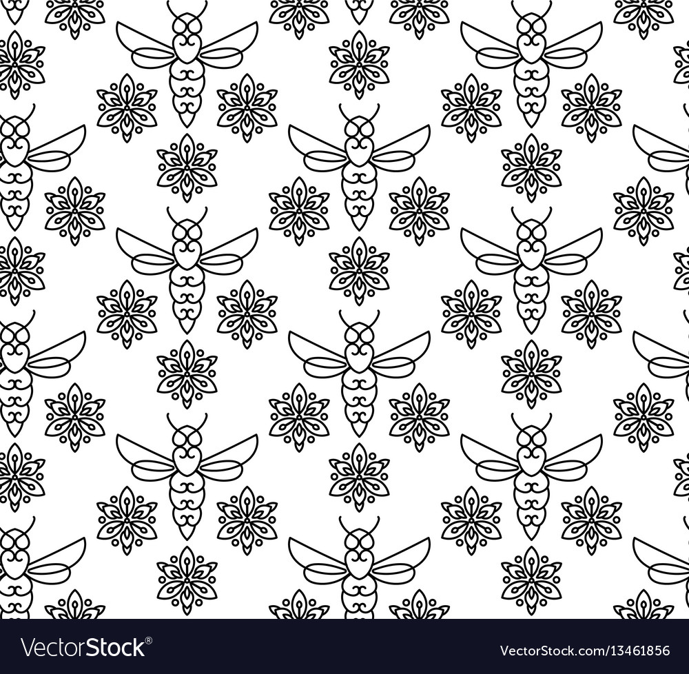 Seamless pattern with orange bees in monoline vector image