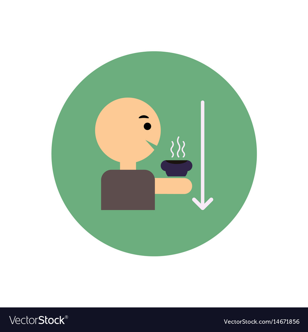 Stylish icon in color circle man drinking hot