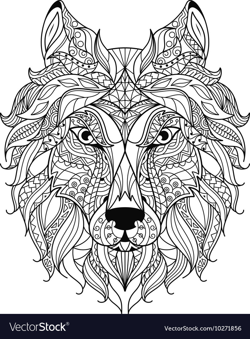 Wolf head zentangle stylized coloring