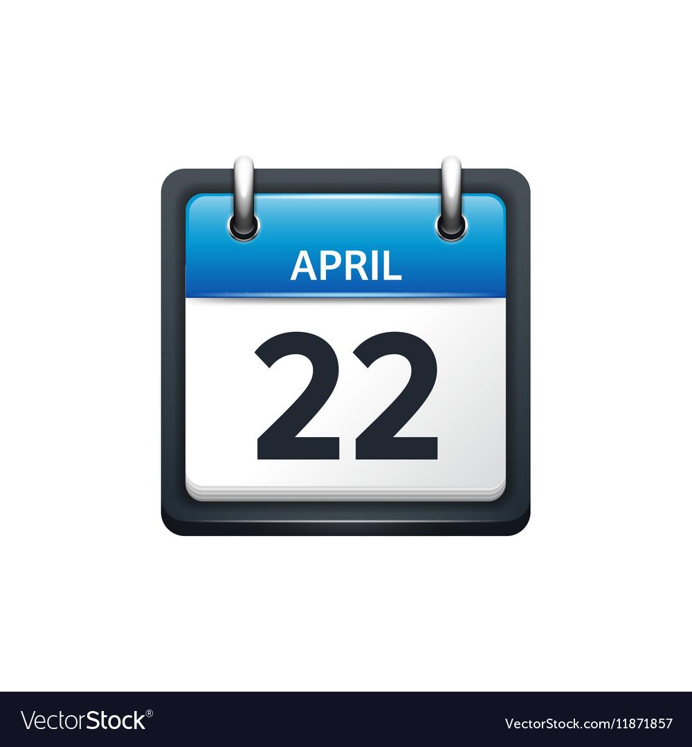 April 22 Calendar icon flat vector image