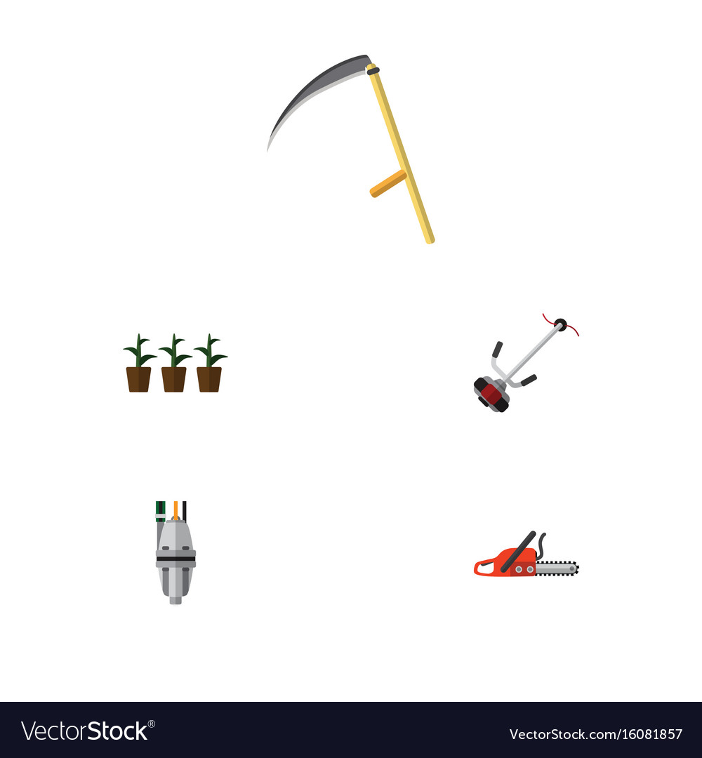 Flat icon dacha set of hacksaw pump grass-cutter vector image