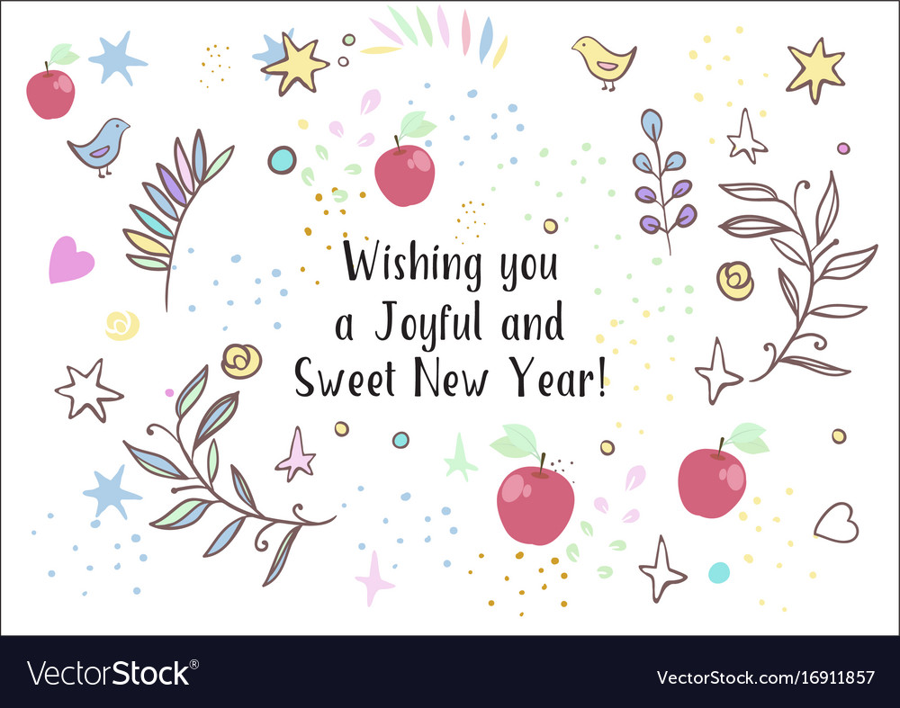 Holiday greetings rosh hashanah vector image