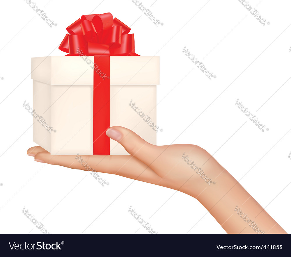 Hand with gift bow vector image