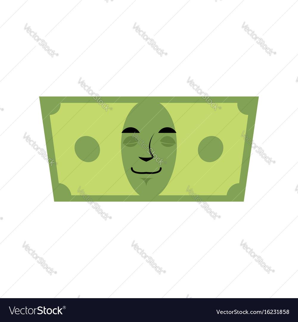 Money sleeps emotion cash emoji tired dollar vector image