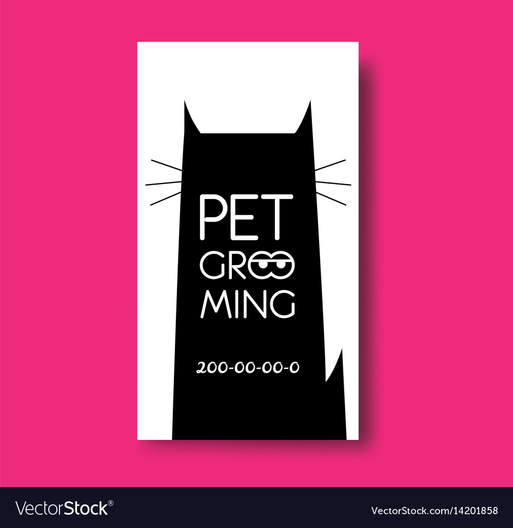 Pet grooming business card design template with Vector Image