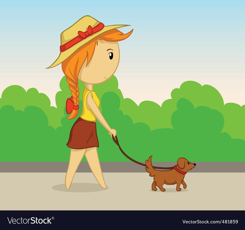 Cartoon Girl Dogs. vector cartoon girl with dog