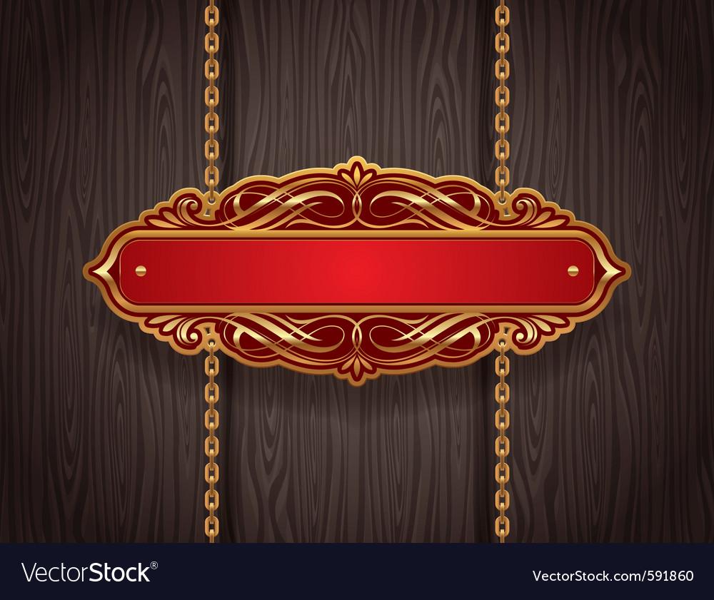 Golden vintage signboard vector image