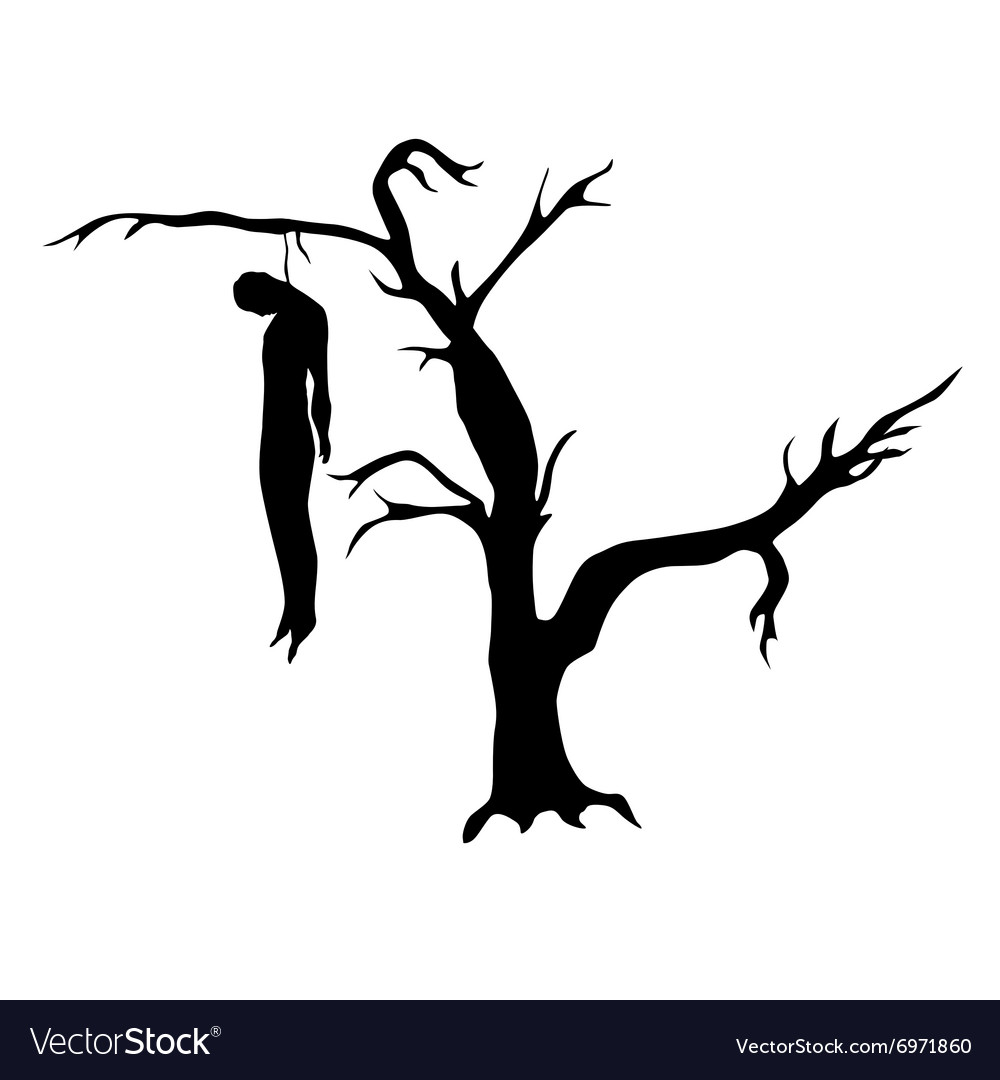 man hanged from a dead tree vector image