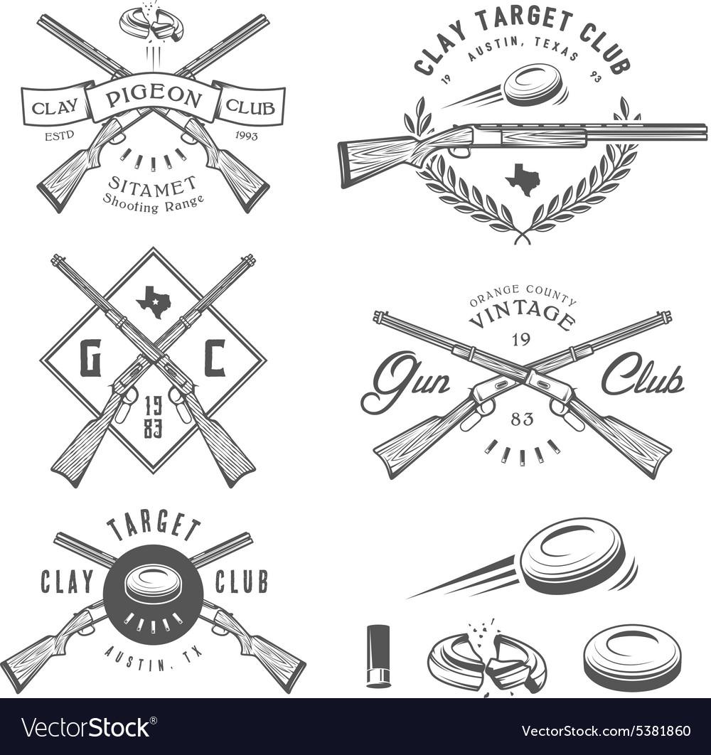 Vintage clay target labels emblems design elem vector image
