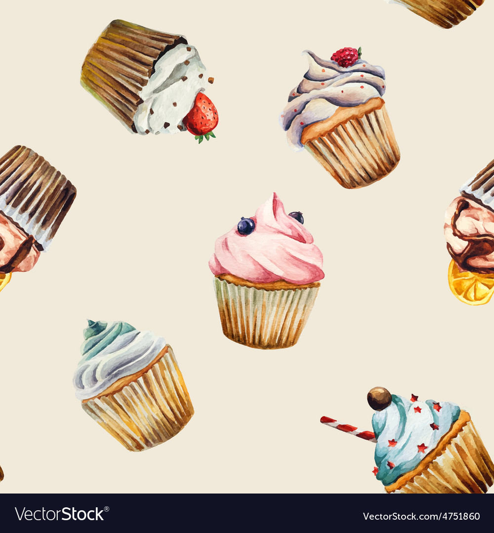Watercolor cupcake seamless pattern vector image