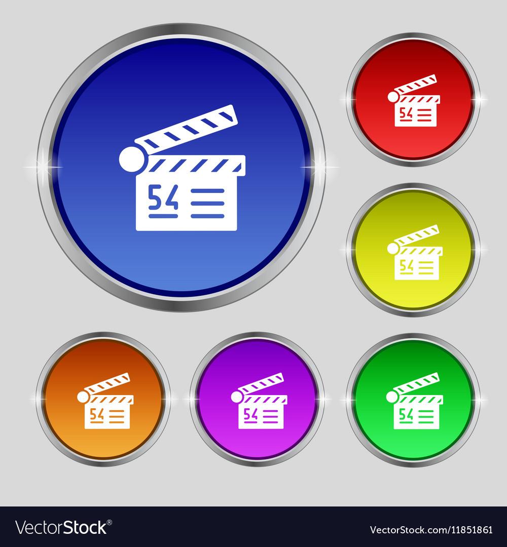 Cinema movie icon sign Round symbol on bright vector image