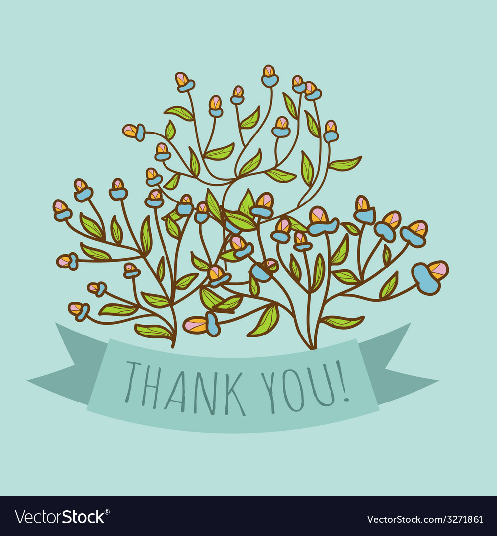 Thank you greeting card with bud flower royalty free vector thank you greeting card with bud flower vector image kristyandbryce Images