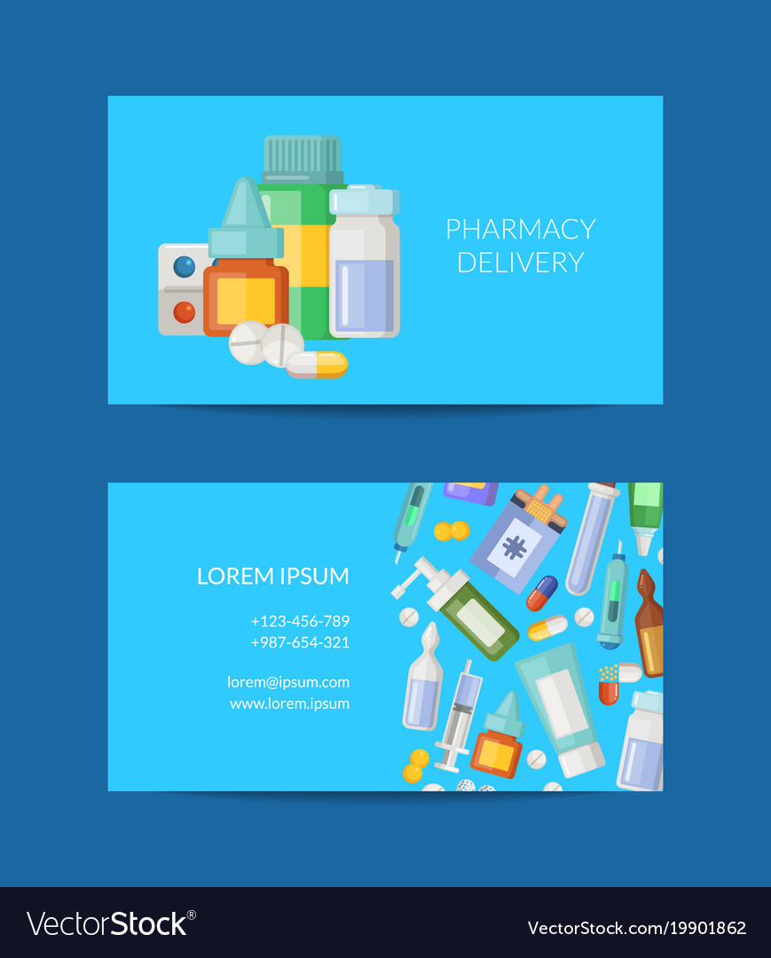 pharmacy store business card template royalty free vector