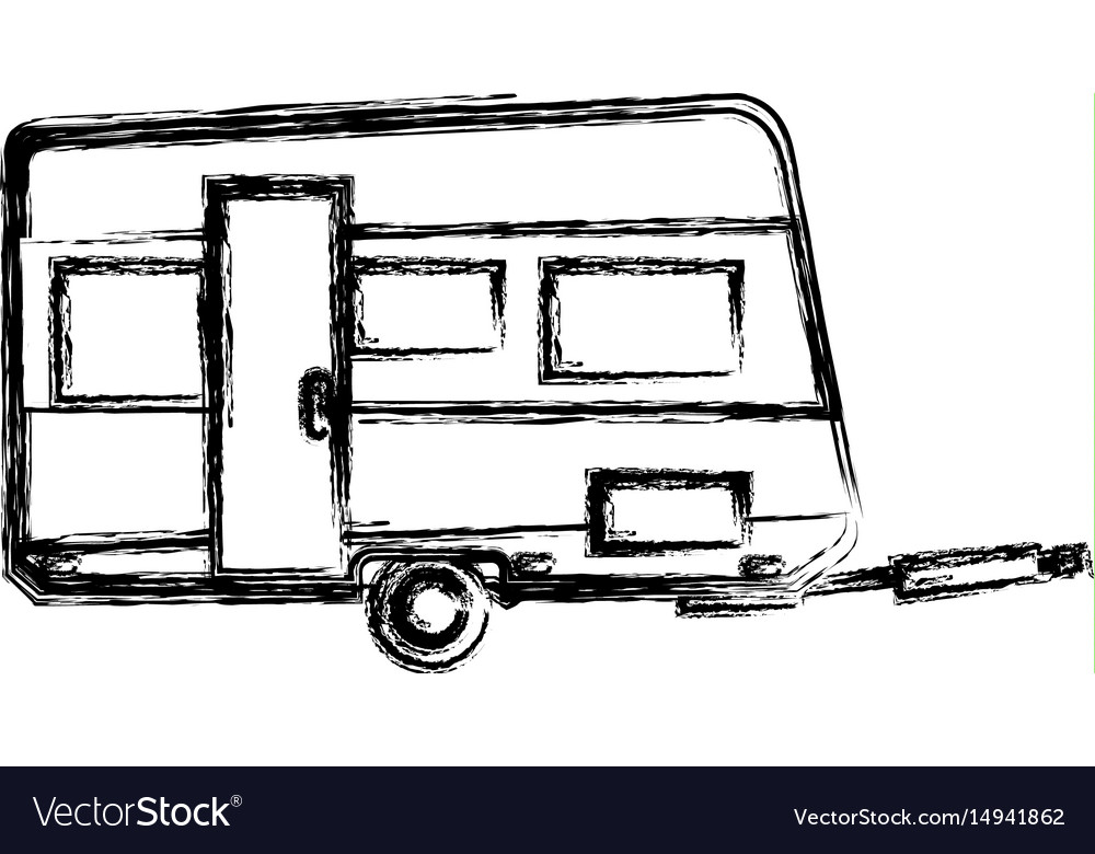 Trailer camping vehicle home transport sketch vector image