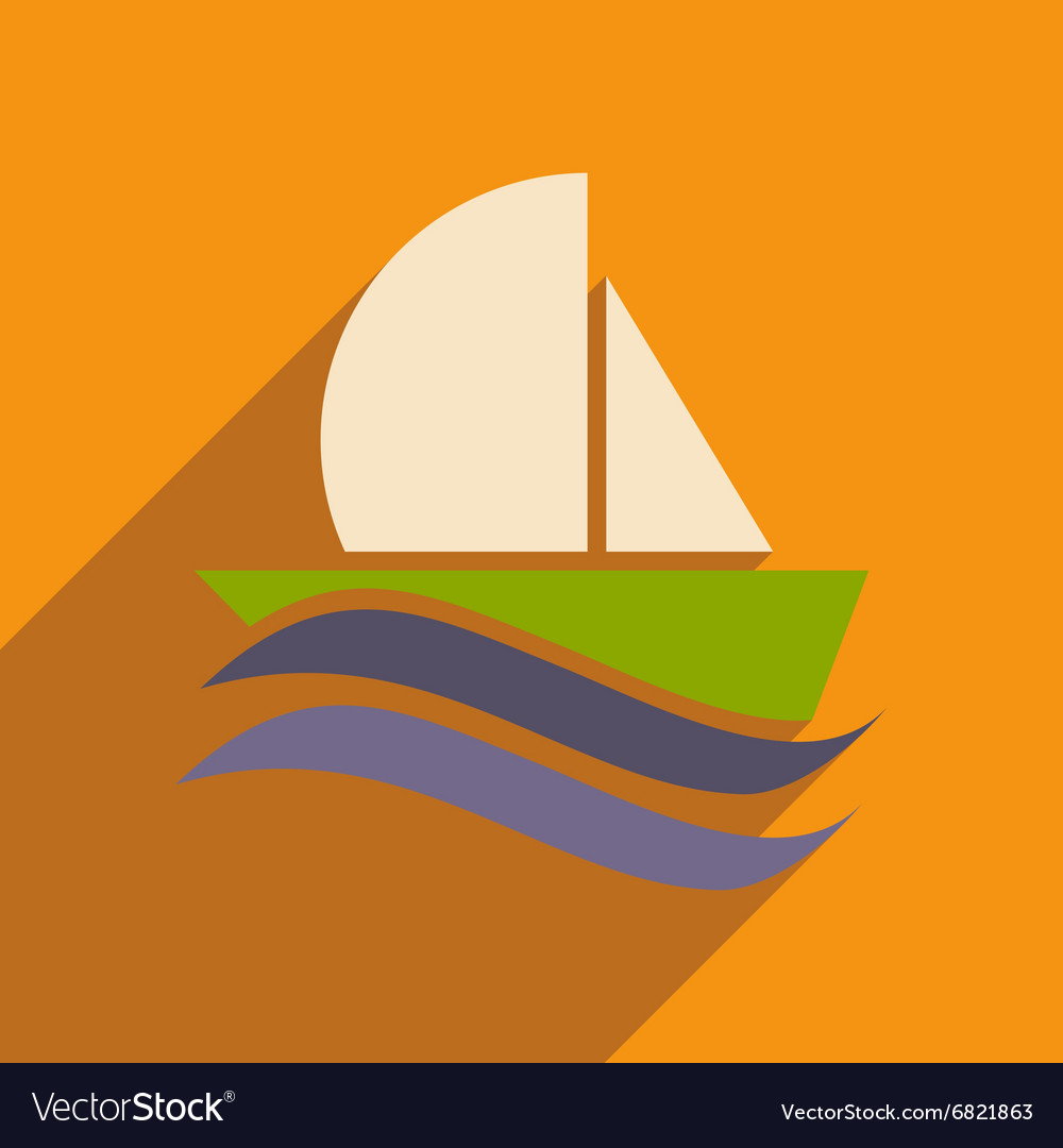 Flat icon with long shadow boat sailboat