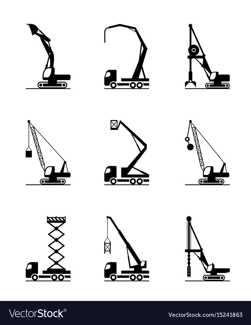 High-rise construction machinery vector image