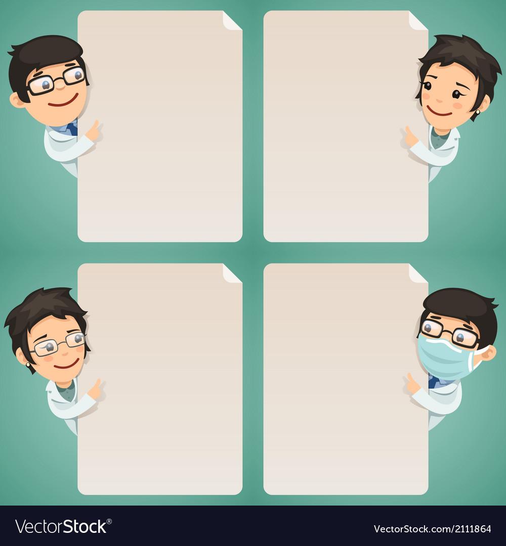 Doctors Cartoon Characters Looking at Blank Poster vector image