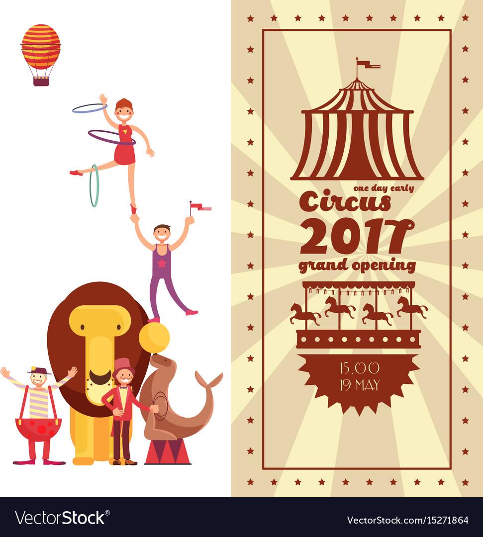 Fun fair carnival and circus vintage poster vector image