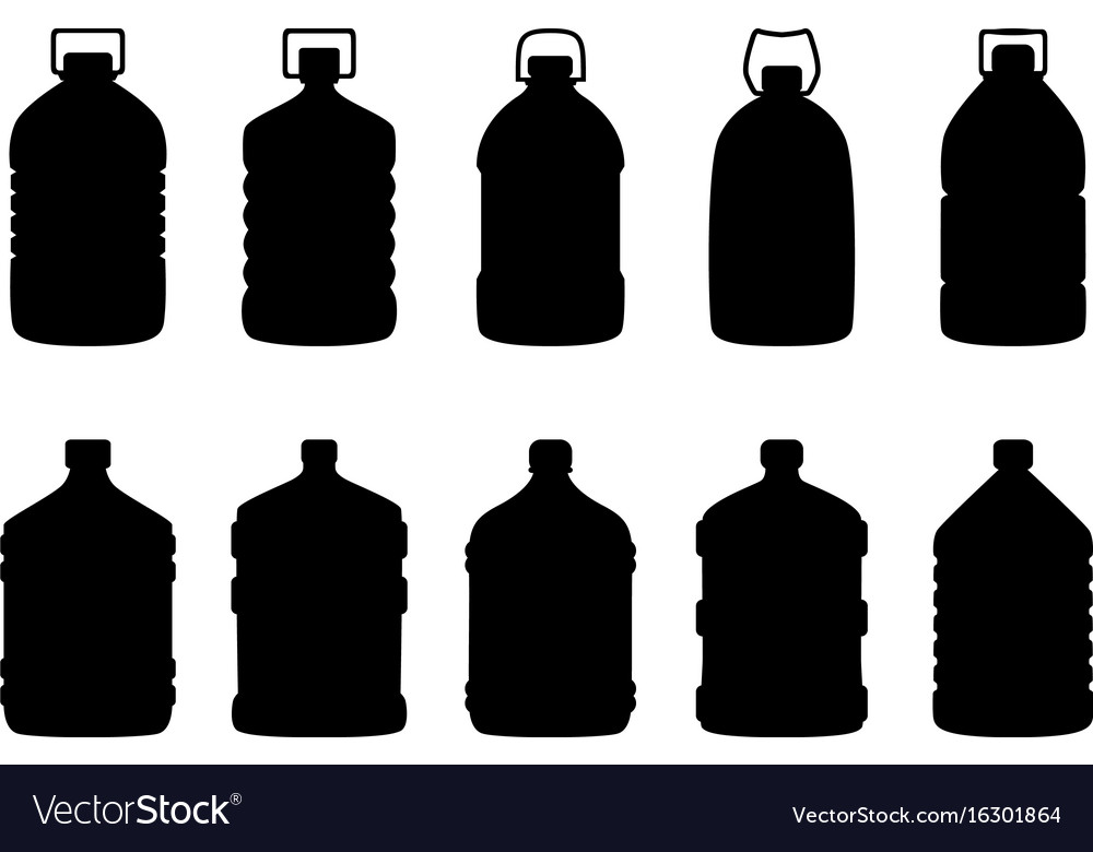 Set of silhouettes of big water bottles vector image