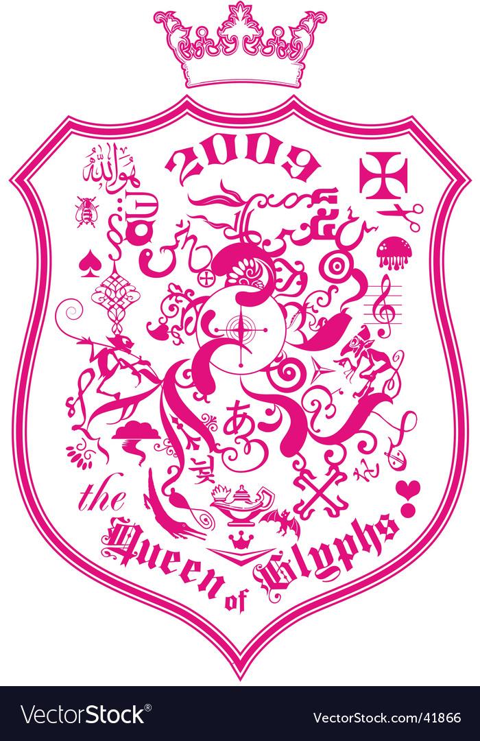 The queen of glyphs Vector Image