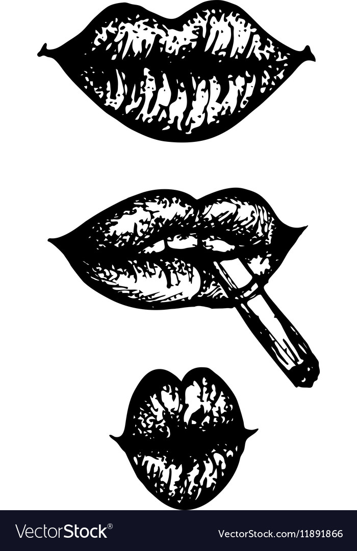 Hand drawn engraving set of lips vector image