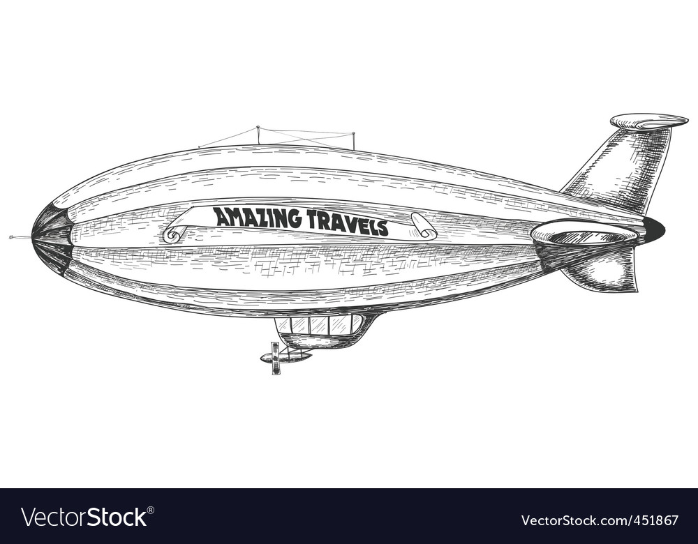 Airship pencil drawing vector image