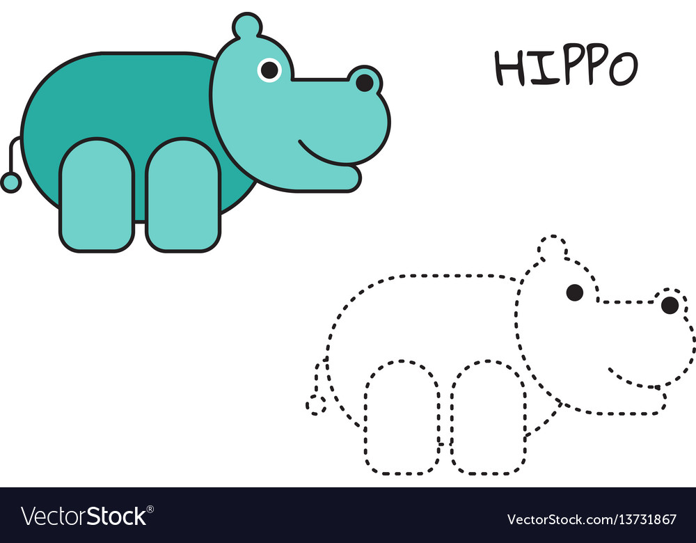 Coloring book hippo vector image